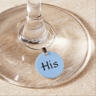 "Blue ""His"" ~ Wine Glass Charms"