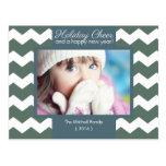 Blue Holiday Cheer Chevron Photo Holiday Postcard