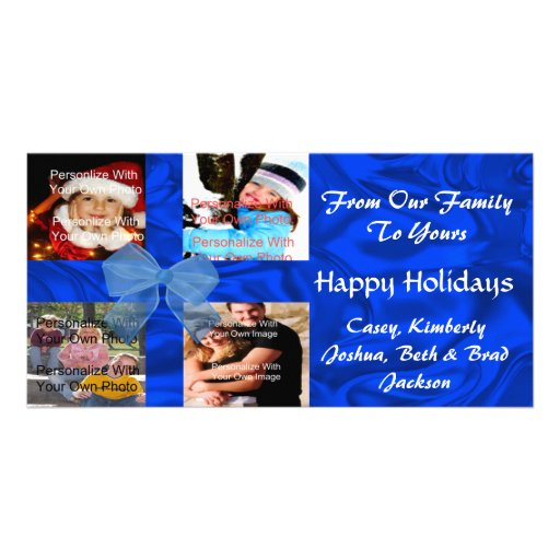Blue Holiday Family Photo Card