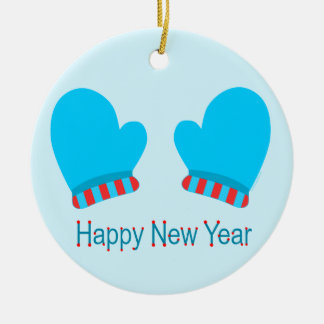 Blue Holiday Mittens (Happy New Year) Christmas Tree Ornament