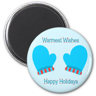 Blue Holiday Mittens (Holiday Wishes) Magnet