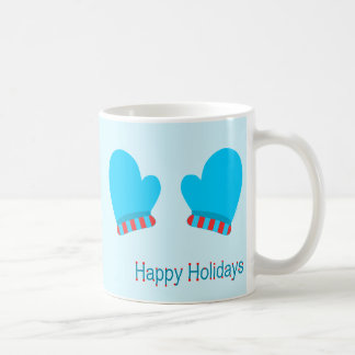 Blue Holiday Mittens (Holiday Wishes) Coffee Mugs
