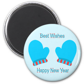 Blue Holiday Mittens (New Year Best Wishes) Refrigerator Magnet