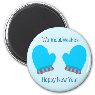 Blue Holiday Mittens (New Year Warm Wishes) Fridge Magnets