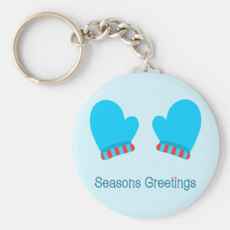 Blue Holiday Mittens (Seasons Greetings) Basic Round Button Key Ring