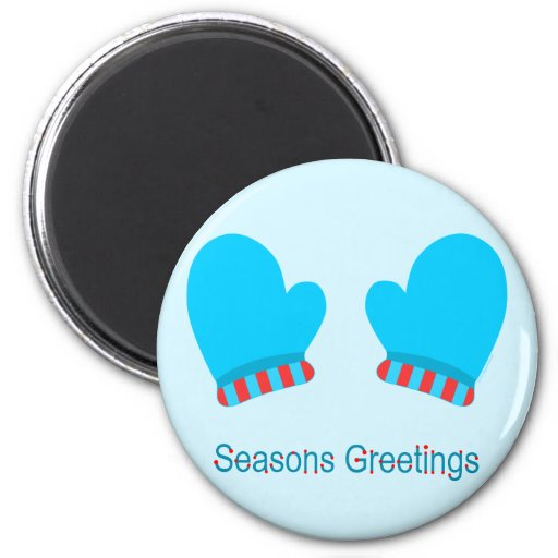 Blue Holiday Mittens (Seasons Greetings) Fridge Magnet