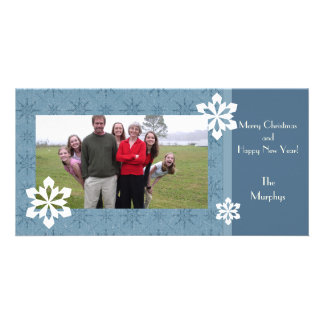Blue Holiday Snowflakes Family Christmas Photo Card