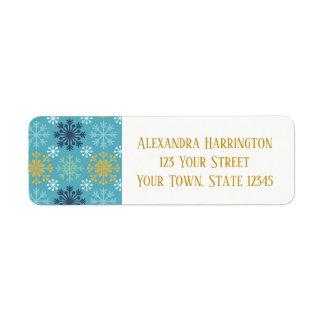Blue Holiday Snowflakes Return Address Label