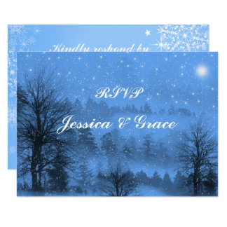Blue, Holiday, Winter Wedding Response Card