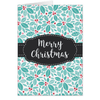 Blue Holly Leaves Berries Merry Christmas Card