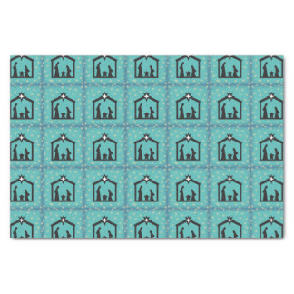 Blue Holy Night Christmas Nativity Tissue Paper