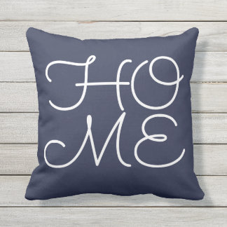 blue 'home, my favorite place' outdoor cushion