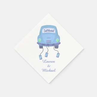 Blue Honeymoon Car Wedding Disposable Serviette