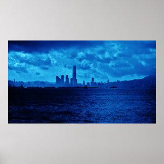 Blue Hong Kong Skyline Poster
