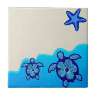 Blue Honu Turtles Ceramic Tile