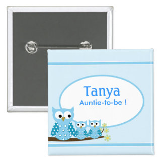 Blue Hoot Owls Baby Shower Name Tag Button