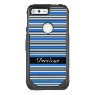 Blue Horizontal Striped Pattern Add your name OtterBox Commuter Google Pixel Case