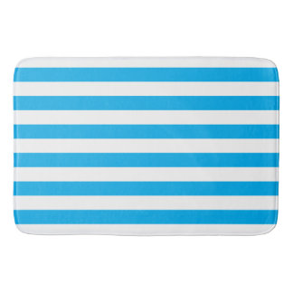 Blue Horizontal Stripes Bath Mat