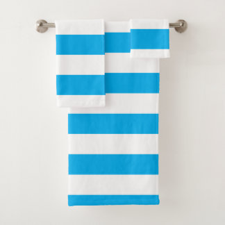 Blue Horizontal Stripes Bath Towel Set