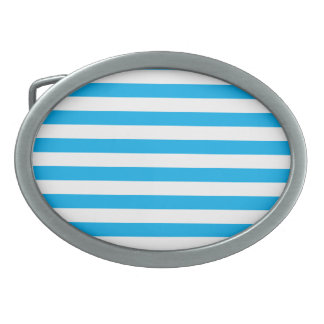 Blue Horizontal Stripes Oval Belt Buckles