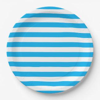 Blue Horizontal Stripes Paper Plate