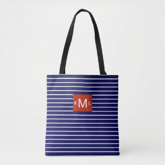 Blue Horizontal Stripes Red Monogram Template Tote Bag