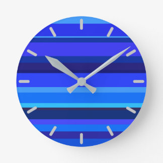 Blue horizontal stripes round clock