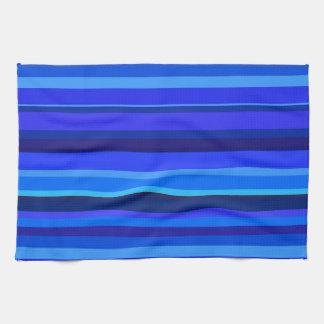 Blue horizontal stripes tea towel