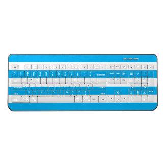 Blue Horizontal Stripes Wireless Keyboard