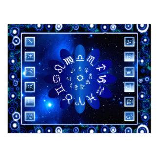 Blue Horoscopes Astrology Art Postcard