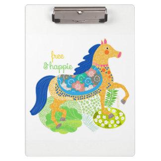 Blue horse Clipboard by Gemma Orte Designs