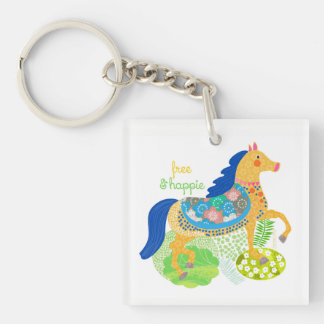 Blue horse Collection keychain. Key Ring