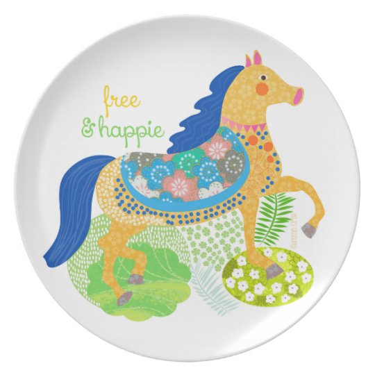Blue horse collection melamine plate. plate