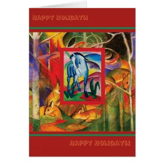 Blue Horse I & Deer in the Forest (Franz Marc) Card