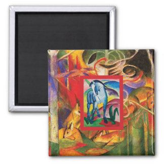 Blue Horse I & Deer in the Forest (Franz Marc) Magnet