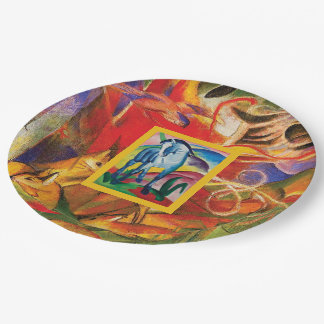 Blue Horse I & Deer in the Forest (Franz Marc) Paper Plate
