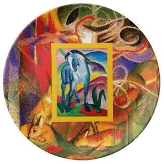 Blue Horse I & Deer in the Forest (Franz Marc) Plate