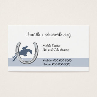 Blue horse jumping through a horseshoe business card