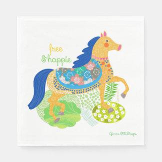 Blue horse paper napkin by Gemma Orte