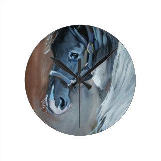 Blue Horse Round Clock