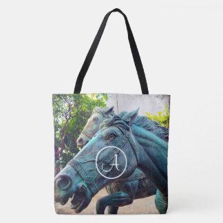 Blue horse statue photo custom monogram tote bag