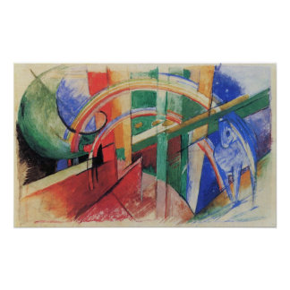 Blue Horse with Rainbow by Franz Marc Poster