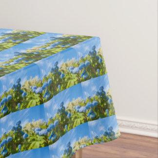 Blue hortensia, pretty tablecloth