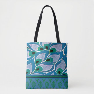 Blue Hosta Art Nouveau Design Tote Bag