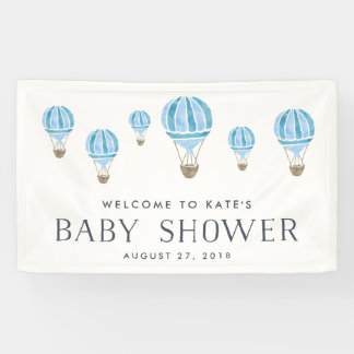 Blue Hot Air Balloon Baby Shower Banner