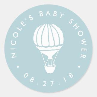 Blue Hot Air Balloon Baby Shower Round Sticker