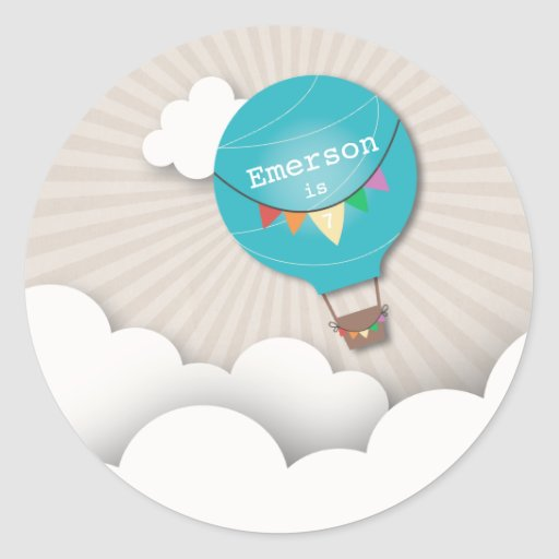 Blue Hot Air Balloon Birthday Party Sticker