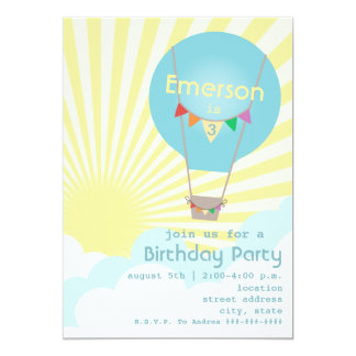 Blue Hot Air Balloon Kids Birthday Party Card