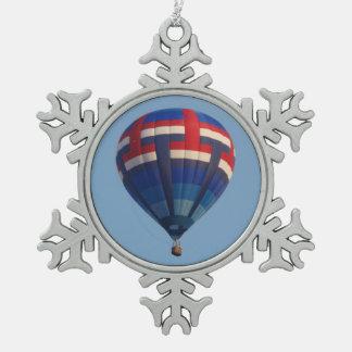 Blue Hot Air Balloon Snowflake Pewter Christmas Ornament