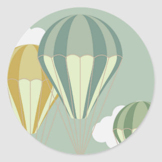 Blue hot air balloon stikkers classic round sticker